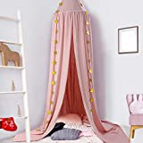 CeeKii Kids Bed Canopy, Crib Decorative Tent Dome Hook Cotton Mosquito Net for Baby Crib Nook Castle Game Tent Nursery for Children's Room Bedroom Games Reading play Tent (Pink)