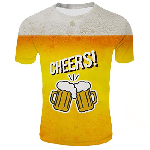 Kariwell Fashion Men's Summer Yellow Beer Pattern Tops 3D Printed Short Sleeves Fashion Comfort Blouse Top for Pool Party Beach Holiday Kari-34