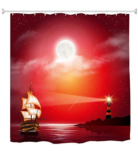 (Goodbath Lighthouse Shower Curtain, Ocean Sailboat Under Moon Night Waterproof Polyester Bathroom Bath Curtains, 72 x 72 Inch, Red Black )