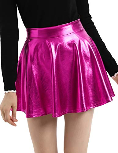 Kate Kasin Plus Size Wet Look Metallic Pleated Mini Skirt Fuchsia Red, 2X-Large -