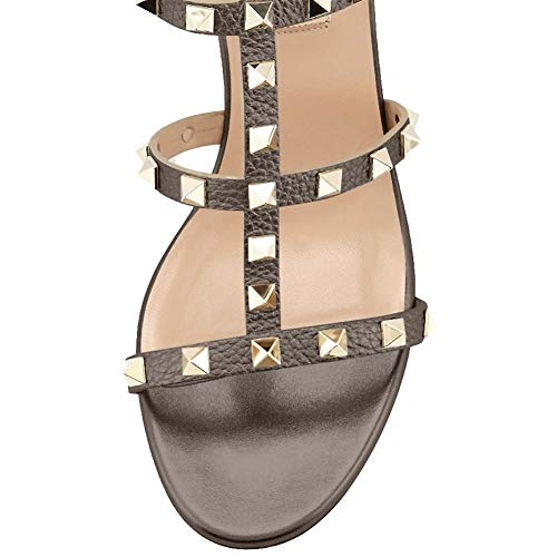 be8cce065 Comfity Leather Sandals for Women,Rivets Studded Strappy Block Heels  Slingback Gladiator Shoes Cut Out Dress Sandals