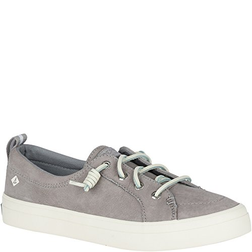 SPERRY Women's Crest Vibe Washable Leather Sneaker, Grey, 9