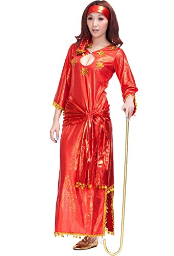 Hot Indian Costumes (AvaCostume Serpentine Indian Belly Dance Costume Hot Gypsy Dancing Costumes Red)