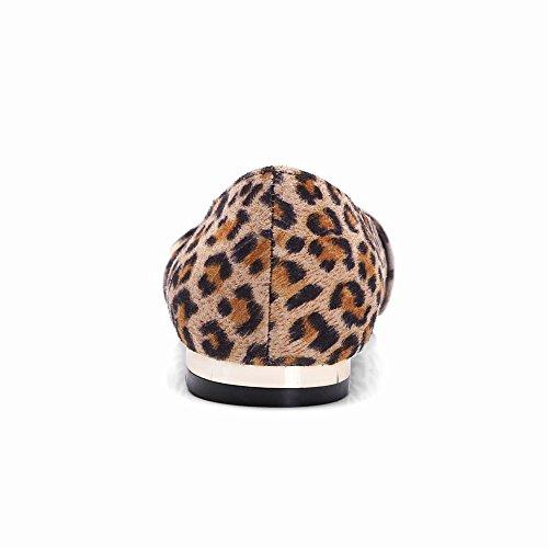 MissSaSa Damen flach geschlossen vierkant Spitze Pumps/Slipper mit Riemchen Gelb(Leopard)
