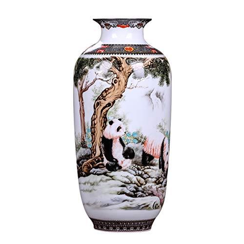 (LKXHarleya Antique Chinese Ceramic Vase Vintage Animal Pottery Vase Panda Painted Oriental Porcelain Flower Vase,Melon Shaped)