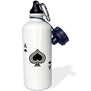 3dRose wb_76552_1 Ace of Spades Playing Card-Black Spade Suit-Gifts for Cards Game Players of Poker Bridge Games Sports Water Bottle, 21 oz, White