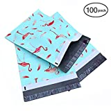 Ohuhu 10x13 100-Pack Flamingo Design Poly Mailers Christmas Shipping Envelope Mailer Bags Sealed Christmas Gifts Boutique Custom Bag Xmas Mailer Packages with Self Adhesive Strip, Water Resistant