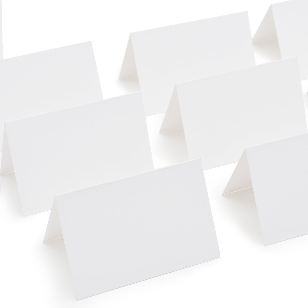 AZAZA 50 Pcs White Blank Place Cards - Textured Table Tent Cards Seating Place Cards for Weddings Banquets Dinner Parties 2.5