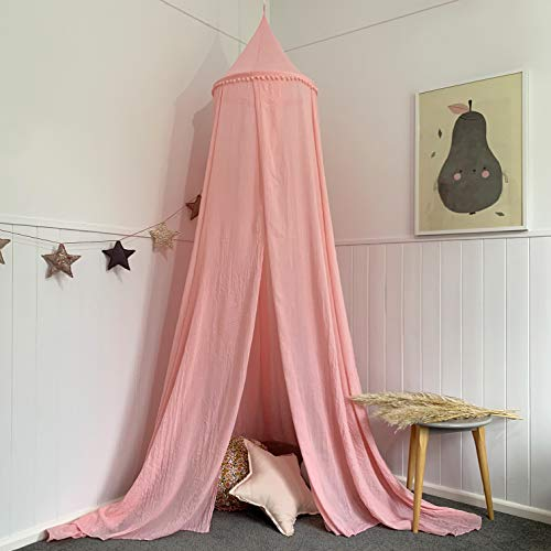 Zeke and Zoey Hanging Pink Princess Bed Canopy for Girls Bed - Hideaway Tent for Kids Rooms or Cribs. Nursery Decoration - Pink, Sheer, Long, Flowing Drapes for Child, Play, Sleep or Reading