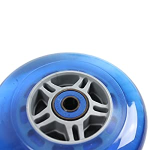 TGM Skateboards Replacement Razor Scooter Wheels, Abec 7 Bearings, Handle Bar Grips (Blue/Blue)