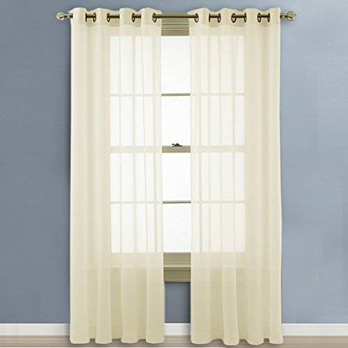 Nicetown Solid Sheer Window Curtains Grommet Voile Panels