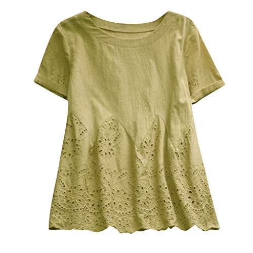 - Women Plus Size Dot Print Shirt Loose Cotton Short Sleeved Blouse Vintage Tops (XX-Large, F Yellow)