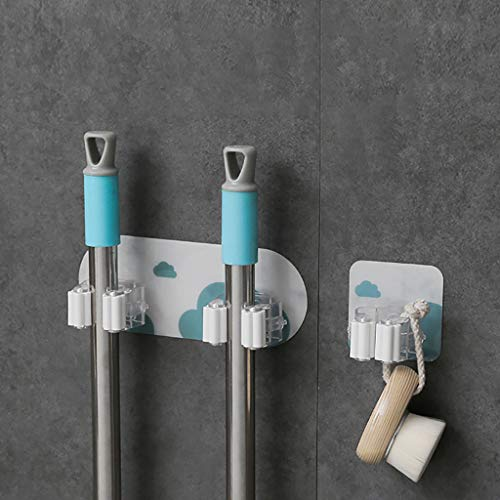 JDgoods Wall Mounted Mop Holder, Self Adhesive Reusable No Drilling Super Anti-Slip Broom Gripper Holds , Multipurpose Organizer Storage Rack Hooks, Tools Hanger for Kitchen Garden (B) ()