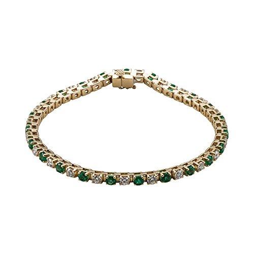 "7 1/4"" 14K Yellow Gold Emerald & 2 3/8 CTW Diamond Bracelet"