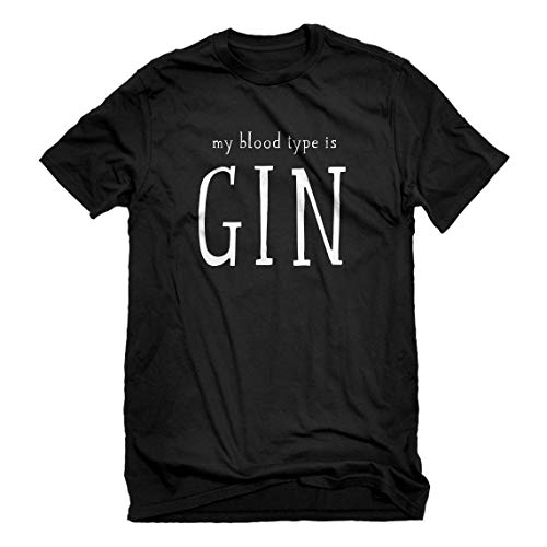 Indica Plateau Mens My Blood Type is Gin XX-Large Black T-Shirt