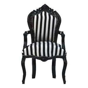 Casa-Padrino Silla barroco Cena Negro/rayas blancas/Negro con reposabrazos - silla de estilo antiguo