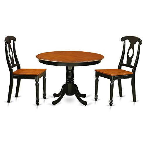 East West Furniture HLKE3-BCH-W 3 Piece Hartland Set, Black & Cherry