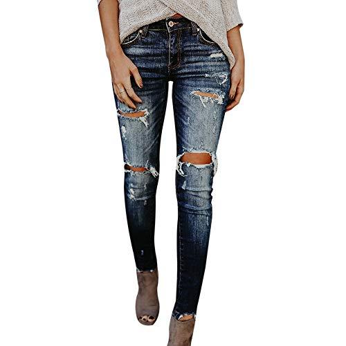 laamei Femme Trou Slim Jeans Leggings Skinny Taille Haute Crayon Pantalon Collants Denim Pantalons Bleu Fonc