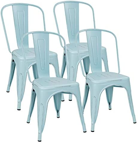 Flamaker Metal Dining Chairs Stackable Kitchen Dining Chairs Metal Chairs Bistro Cafe Side Chairs Height Restaurant Chairs Tolix Side Bar Chairs