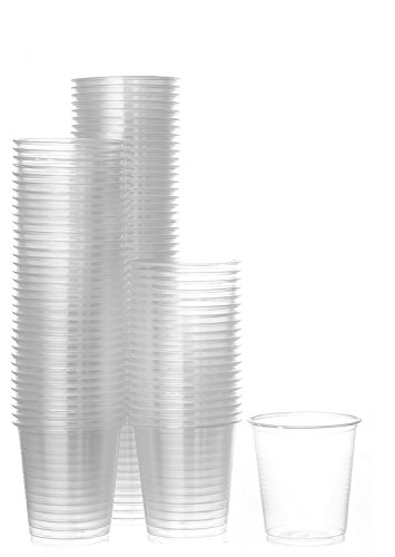 Disposable Plastic Cups Small, Clear 3.5 oz. Snack & Drink Size | Party, Event, Wedding, Kids | Recyclable Drinkware | Tea, Soda, Water, Juice, Milk (1 Pack 50 Cups)