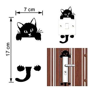 Wociaosmd Cat Wall Sticker, New Cute Wall Stickers Light Switch Decor Decals Art Mural Baby Nursery Room (Black)