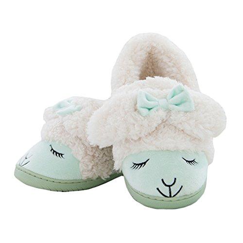 Jaderich Mujeres Cute Sheep Cosy Warm Zapatillas De Interior Verde
