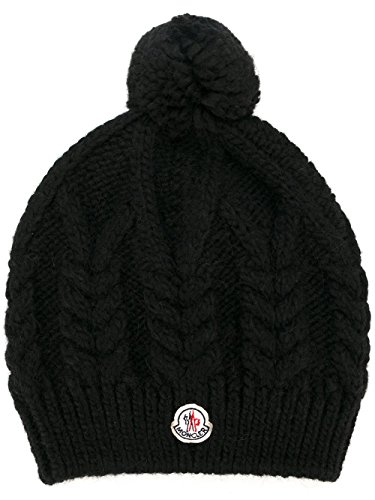 Moncler Woman's Black Cabled Knit Pom Pom Hat by Moncler