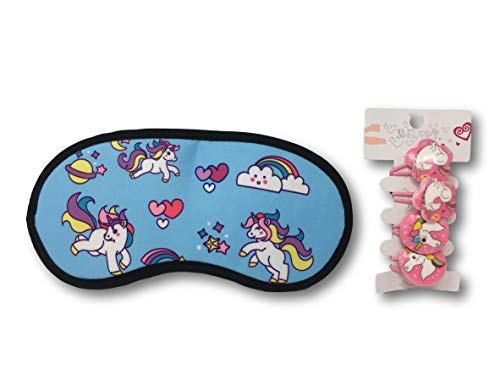 Blue Synthetic Star (Unicorn Sleeping Mask for Girls & Magical Unicorn Button Ponytail Ties - Beauty Set (Blue Hearts & Stars Unicorn Sleeping Mask & Pink Hair Ties))