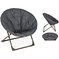 Oversized Large Folding Moon Chair Round Seat Living Room (Grey) by eHomeProducts