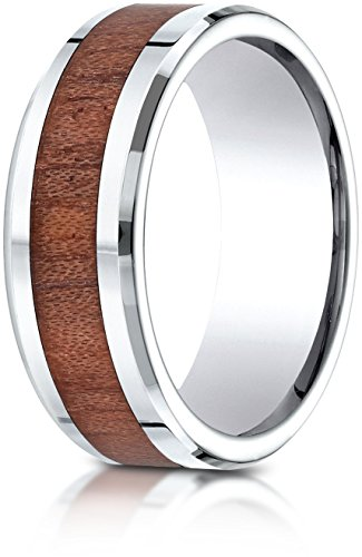 Benchmark Cobaltchrome 8mm Comfort-Fit Drop Beveled Rosewood Inlay Cobalt Ring, Size 13 ()