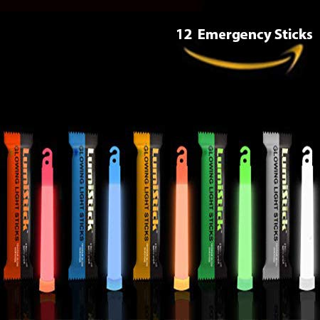 Lumistick 6 Inch Glowstick Rods - Individually Packed Emergency Light Stick - 12 Hour High Intensity Glow Lights (Assorted, 12)