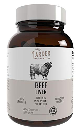 Larder Beef Liver Capsules | Grass Fed and Non-GMO New Zealand Beef | Provides Immune Support and Helps Boost Energy | Natural Iron Supplement, High in Vitamin B12, Folate, and Vitamin A | 180 Count