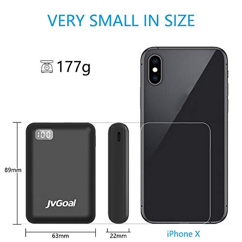 Portable Charger 10000mAh Pocket Size Power Bank LCD Digital Display Mini External Battery Pack Compatible with iPhone 11 Pro/XS Max/8/7/6s,Samsung S10, Huawei and More (Black)