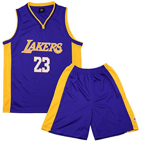 XJHSO Little Boys Basketball Jersey Retro Jersey Athletics Set 2-Piece Basketball Tank Top and Shorts Set (Blue 01, M)