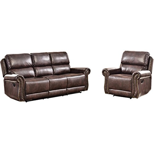 Harper & Bright Designs Sectional Recliner Sofa Set (Brown) (Chair & 3-Seat Recliner)
