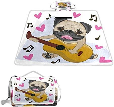 jeansame Cute Puppy Dog Music Guitar Picnic Mat Coperta da Picnic, da Campeggio per Outdoor Viaggio Yoga Escursionismo Impermeabile Portatile Pieghevole 150x 145cm