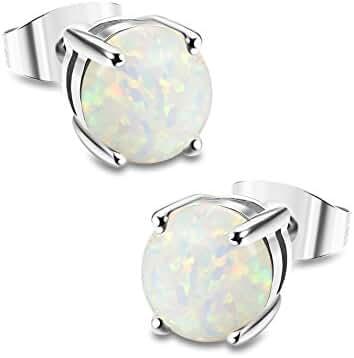 ORAZIO Stainless Steel Women Round Created-Opal Stud Earrings for Men Ear Piercing 7MM