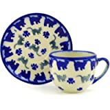 Polish Pottery Espresso Cup with Saucer 3 oz Kitty Paws