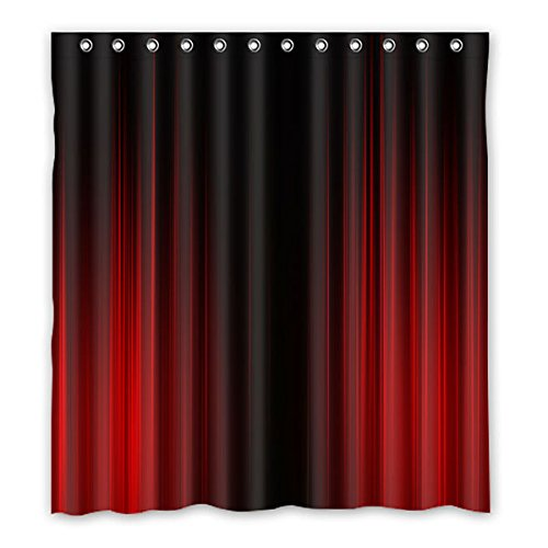 Simple style black and red stripe pattern design Polyester Fabric Waterproof bathroom Shower Curtain 66