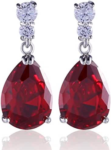 GULICX Bling Silver Tone Cubic Zirconia Pear Distinctive Engagement Party Dangle Earrings