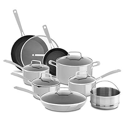 KitchenAid Nonstick 14-Piece Cookware Set, Silver