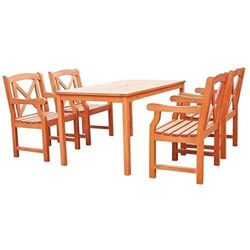 Vifah V98SET44 Malibu Outdoor 5-Piece Wood Patio Dining Set, Natural