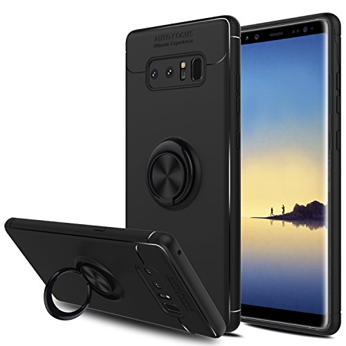 - Galaxy Note 8 Case, Elegant Choise Hybrid Slim Durable Soft 360 Degree Rotating Ring Kickstand Protective Case with Magnetic Case Cover for Samsung Galaxy Note 8 / SM-N950F / SM-N950U (Black)
