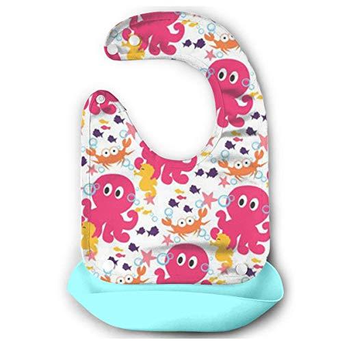 RS-pthrAD!!! Baby Imitation Silicone Stereo Zebra Saliva Pocket Children Rice Bib Saliva Pocket Washable -