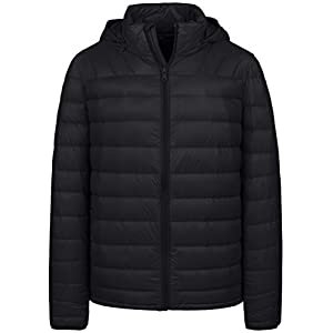 Wantdo Men's Packable Ultra Light Weight Down Jacket with Removable Hood(Black,L)