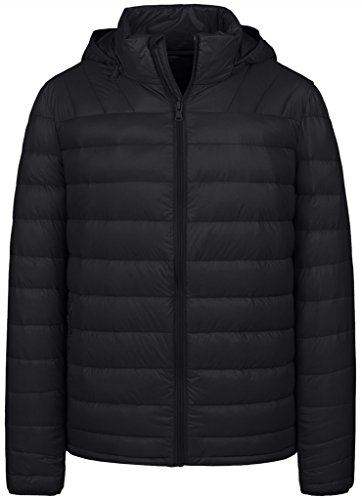 Wantdo Men's Packable Ultra Light Weight Down Jacket with Removable (Puffy Down Jacket)