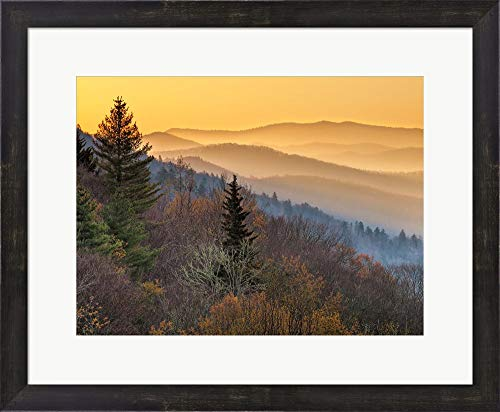 Sunrise from The Oconaluftee Valley Overlook, North Carolina by Ann Collins/DanitaDelimont Framed Art Print Wall Picture, Espresso Brown Frame, 23 x 19 inches -