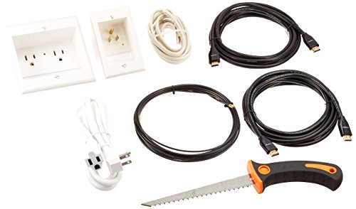 PowerBridge TWO-PRO-IKH2 Dual Outlet Recessed In-Wall Cable Management System, Two 10-Foot High-Speed HDMI Cables (Latest Standard), Plus Drywall Saw and Cable-Puller Bundle (Package Wire)