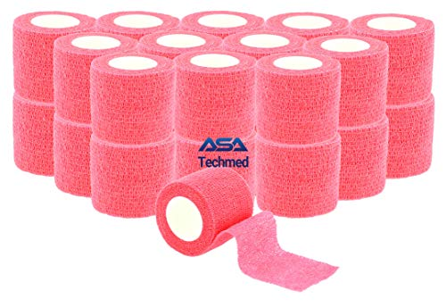 "24-Pack, 2"" x 5 Yards, Self-Adherent Cohesive Tape, Strong Sports Tape for Wrist, Ankle Sprains & Swelling, Self-Adhesive Bandage Rolls (Pink) ()"