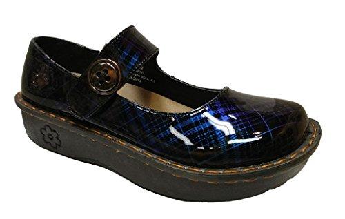 Savvy Women's Jane Blue Plaid Slip Resistant Nursing \ Work Wear Slip On Mary Jane Clog Size: 7.5, Width: Medium ()